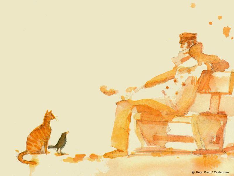 Corto_Maltese,_cat_and_bird_Wallpaper_JxHy
